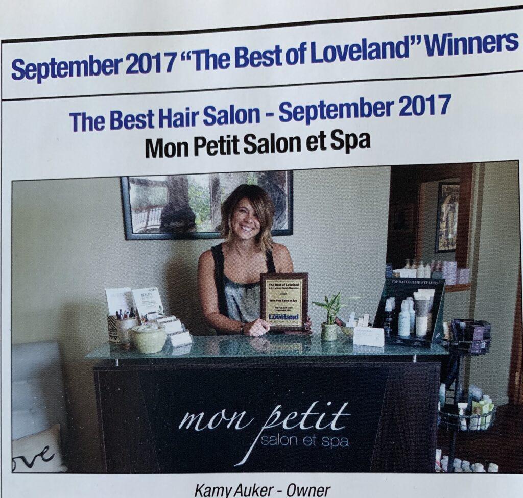 Mon Petit Salon Best of Loveland 2017. Photo of owner Kamy Auker